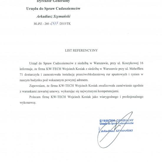 Referencje Urząd do Spraw Cudzoziemców