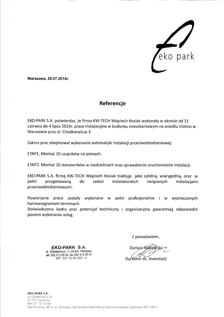 Referencje Eko-Park